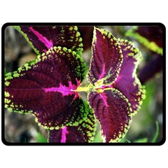 Plant Purple Green Leaves Garden Double Sided Fleece Blanket (large)