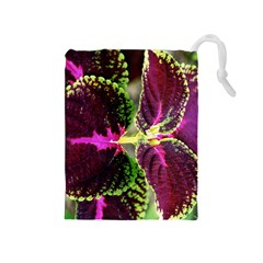 Plant Purple Green Leaves Garden Drawstring Pouches (medium)