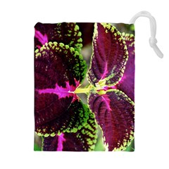 Plant Purple Green Leaves Garden Drawstring Pouches (extra Large)