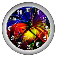 Fractal Pattern Abstract Chaos Wall Clocks (silver)