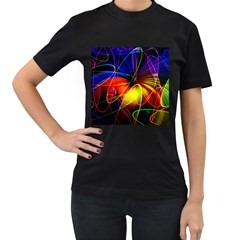 Fractal Pattern Abstract Chaos Women s T Shirt (black) (two Sided)