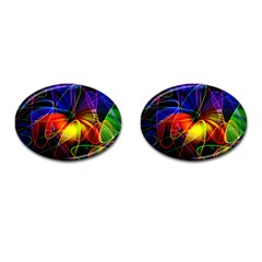 Fractal Pattern Abstract Chaos Cufflinks (oval)