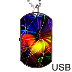 Fractal Pattern Abstract Chaos Dog Tag Usb Flash (one Side)