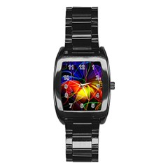 Fractal Pattern Abstract Chaos Stainless Steel Barrel Watch
