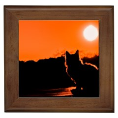 Sunset Cat Shadows Silhouettes Framed Tiles