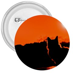 Sunset Cat Shadows Silhouettes 3  Buttons