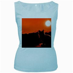 Sunset Cat Shadows Silhouettes Women s Baby Blue Tank Top