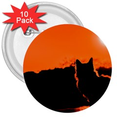 Sunset Cat Shadows Silhouettes 3  Buttons (10 Pack)