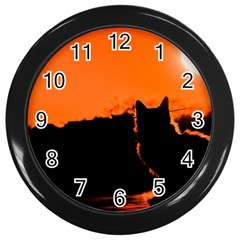 Sunset Cat Shadows Silhouettes Wall Clocks (black)