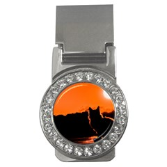 Sunset Cat Shadows Silhouettes Money Clips (cz)