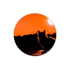 Sunset Cat Shadows Silhouettes Magnet 3  (round)