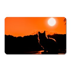 Sunset Cat Shadows Silhouettes Magnet (rectangular)