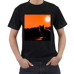Sunset Cat Shadows Silhouettes Men s T Shirt (black) (two Sided)