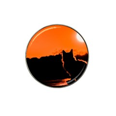 Sunset Cat Shadows Silhouettes Hat Clip Ball Marker (4 Pack)
