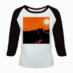 Sunset Cat Shadows Silhouettes Kids Baseball Jerseys