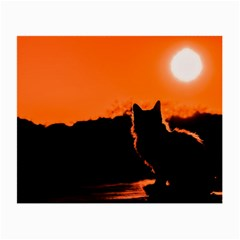 Sunset Cat Shadows Silhouettes Small Glasses Cloth