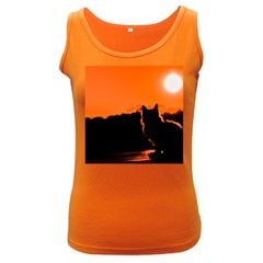 Sunset Cat Shadows Silhouettes Women s Dark Tank Top