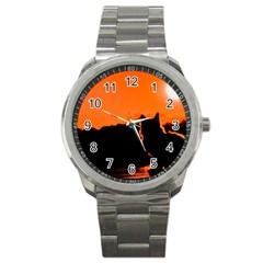 Sunset Cat Shadows Silhouettes Sport Metal Watch