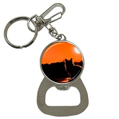 Sunset Cat Shadows Silhouettes Button Necklaces