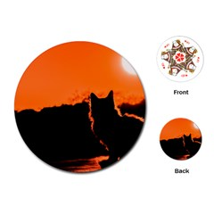 Sunset Cat Shadows Silhouettes Playing Cards (round)