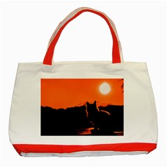 Sunset Cat Shadows Silhouettes Classic Tote Bag (red)