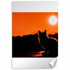 Sunset Cat Shadows Silhouettes Canvas 12  X 18
