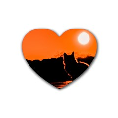 Sunset Cat Shadows Silhouettes Rubber Coaster (heart)
