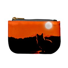 Sunset Cat Shadows Silhouettes Mini Coin Purses