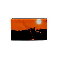Sunset Cat Shadows Silhouettes Cosmetic Bag (small)