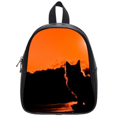 Sunset Cat Shadows Silhouettes School Bag (small)