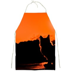 Sunset Cat Shadows Silhouettes Full Print Aprons