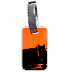 Sunset Cat Shadows Silhouettes Luggage Tags (one Side)