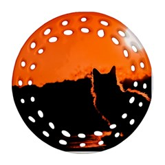 Sunset Cat Shadows Silhouettes Ornament (round Filigree)