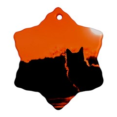 Sunset Cat Shadows Silhouettes Snowflake Ornament (two Sides)