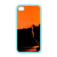 Sunset Cat Shadows Silhouettes Apple Iphone 4 Case (color)
