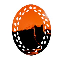 Sunset Cat Shadows Silhouettes Oval Filigree Ornament (two Sides) by Nexatart