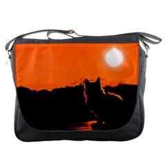 Sunset Cat Shadows Silhouettes Messenger Bags