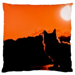 Sunset Cat Shadows Silhouettes Large Cushion Case (one Side)