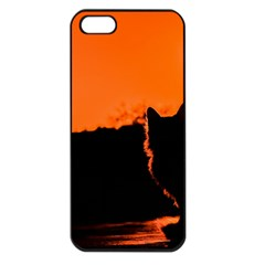 Sunset Cat Shadows Silhouettes Apple Iphone 5 Seamless Case (black)