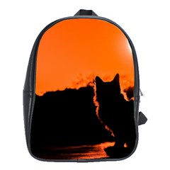 Sunset Cat Shadows Silhouettes School Bag (xl)