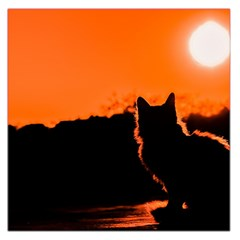 Sunset Cat Shadows Silhouettes Large Satin Scarf (square)