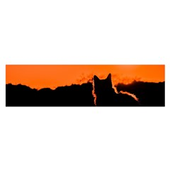 Sunset Cat Shadows Silhouettes Satin Scarf (oblong)