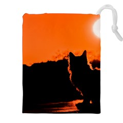 Sunset Cat Shadows Silhouettes Drawstring Pouches (xxl)