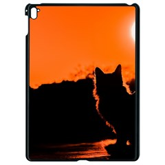 Sunset Cat Shadows Silhouettes Apple Ipad Pro 9 7   Black Seamless Case