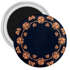 Floral Vintage Royal Frame Pattern 3  Magnets