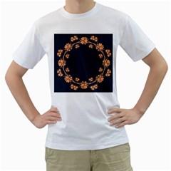 Floral Vintage Royal Frame Pattern Men s T Shirt (white) (two Sided)