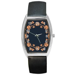Floral Vintage Royal Frame Pattern Barrel Style Metal Watch
