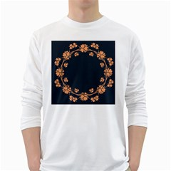 Floral Vintage Royal Frame Pattern White Long Sleeve T Shirts