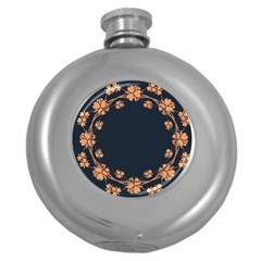 Floral Vintage Royal Frame Pattern Round Hip Flask (5 Oz)
