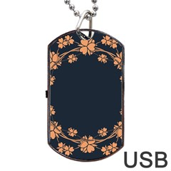 Floral Vintage Royal Frame Pattern Dog Tag Usb Flash (two Sides)